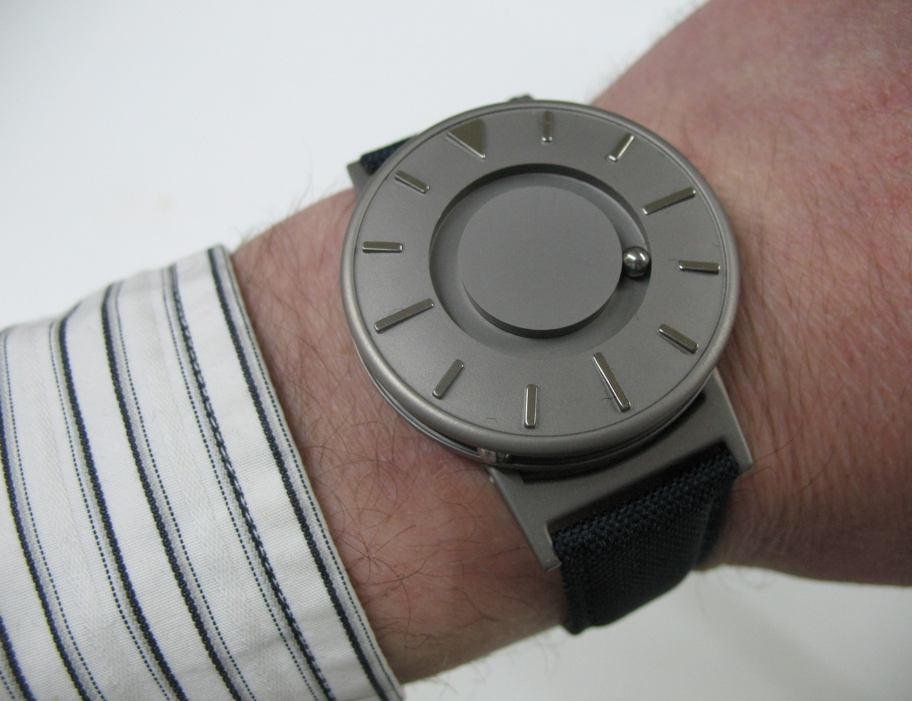 Photo of stylish, accessible watch that works for individuals who are sighted or blind.