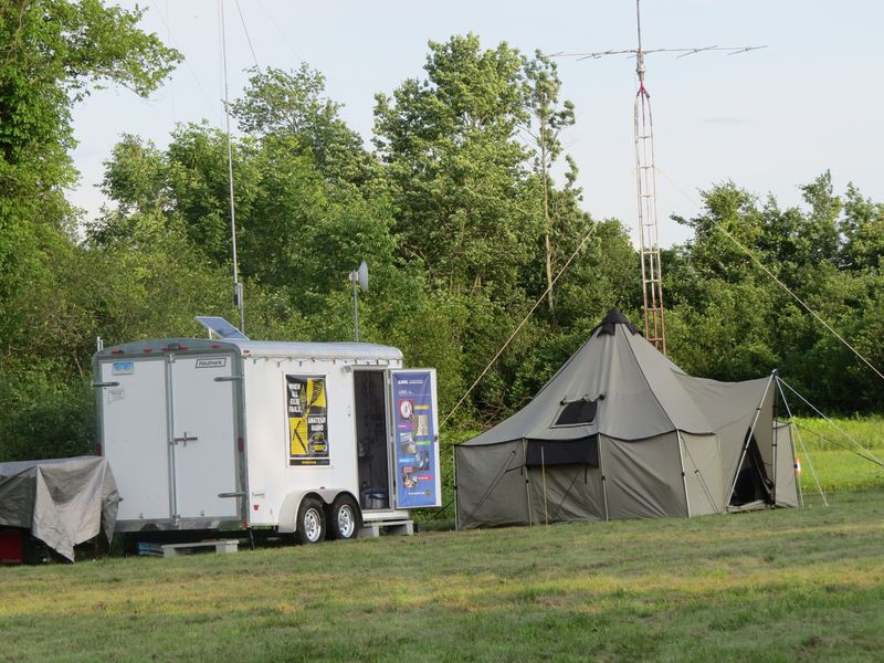 Photo of communications trailer and tent set up at Field Day 2019