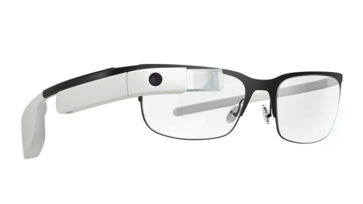 photo of Google Glass on a pair of eyeglasses