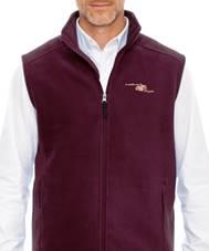 Fleece vest in burgundy with embroidered Handiham logo in cream