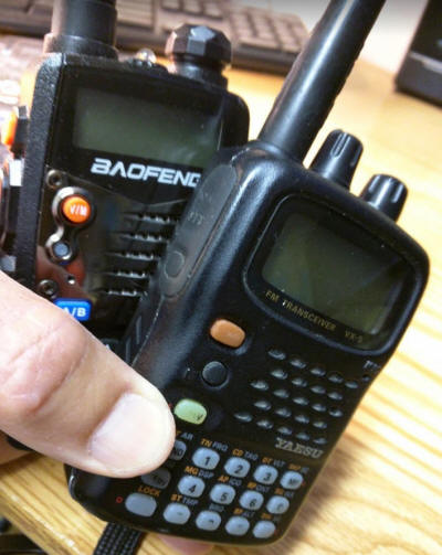 Photo of handheld amateur radios