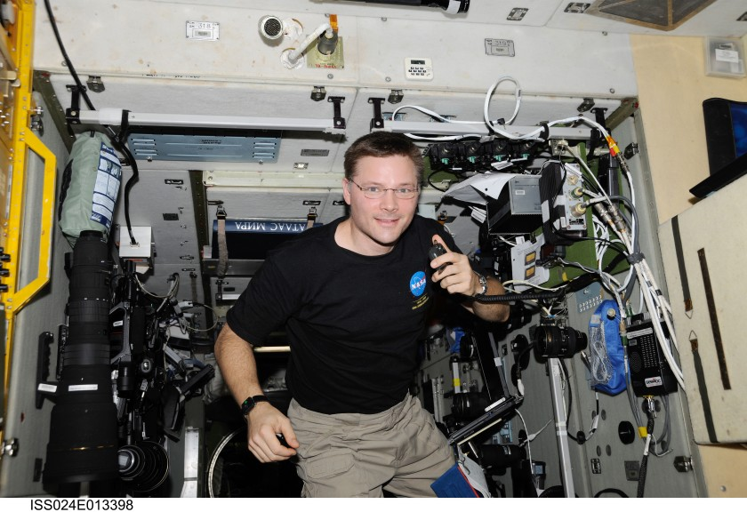 Photo of astronaut talking on the amateur radio on the ISS