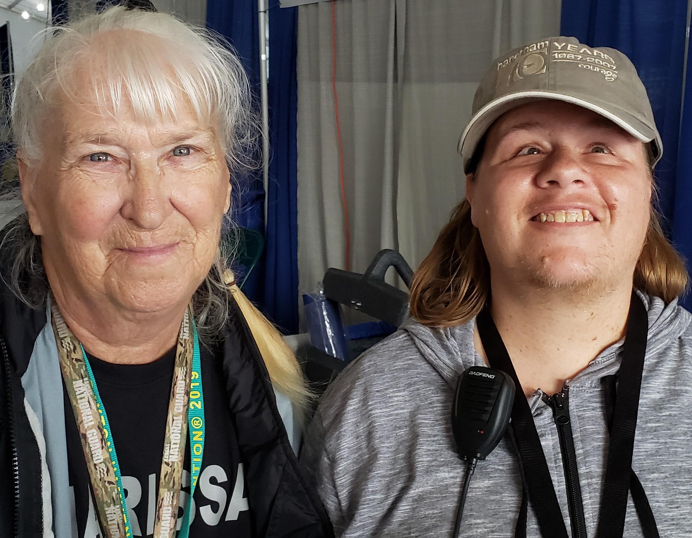 Charissa Dunham and Kelly Stanfield in the Hamvention Handiham booth