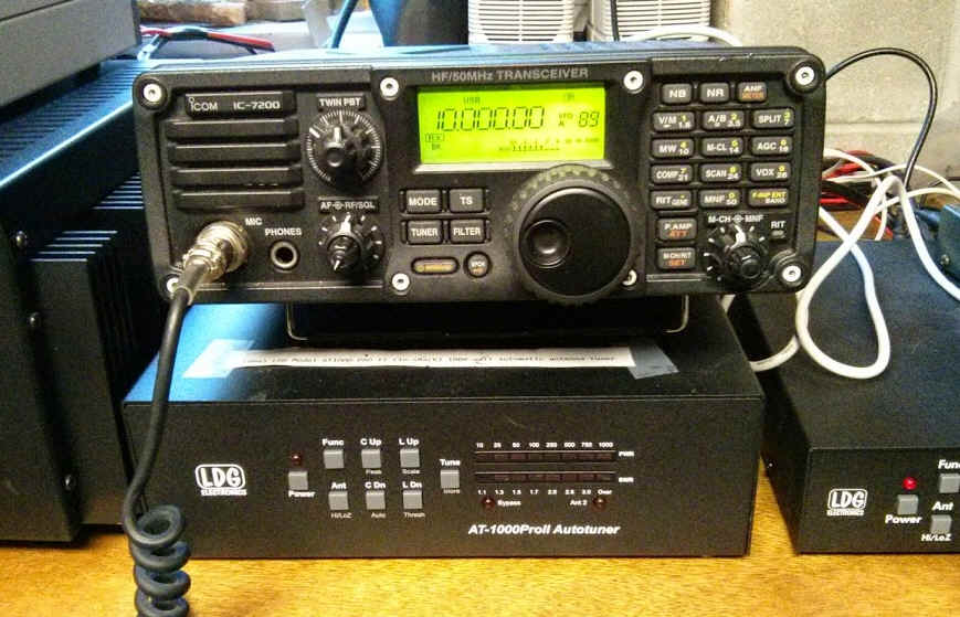 Photo of Icom IC-7200 with LDG auto-tuner and power supply.