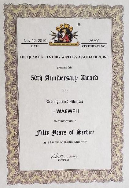Photo of Johnny Ott's QCWA Golden Certificate.