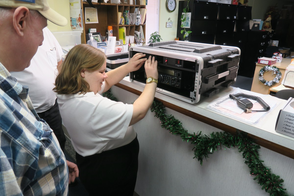 "Kelley Stanfield checking out her new Kenwood TS590"" width="