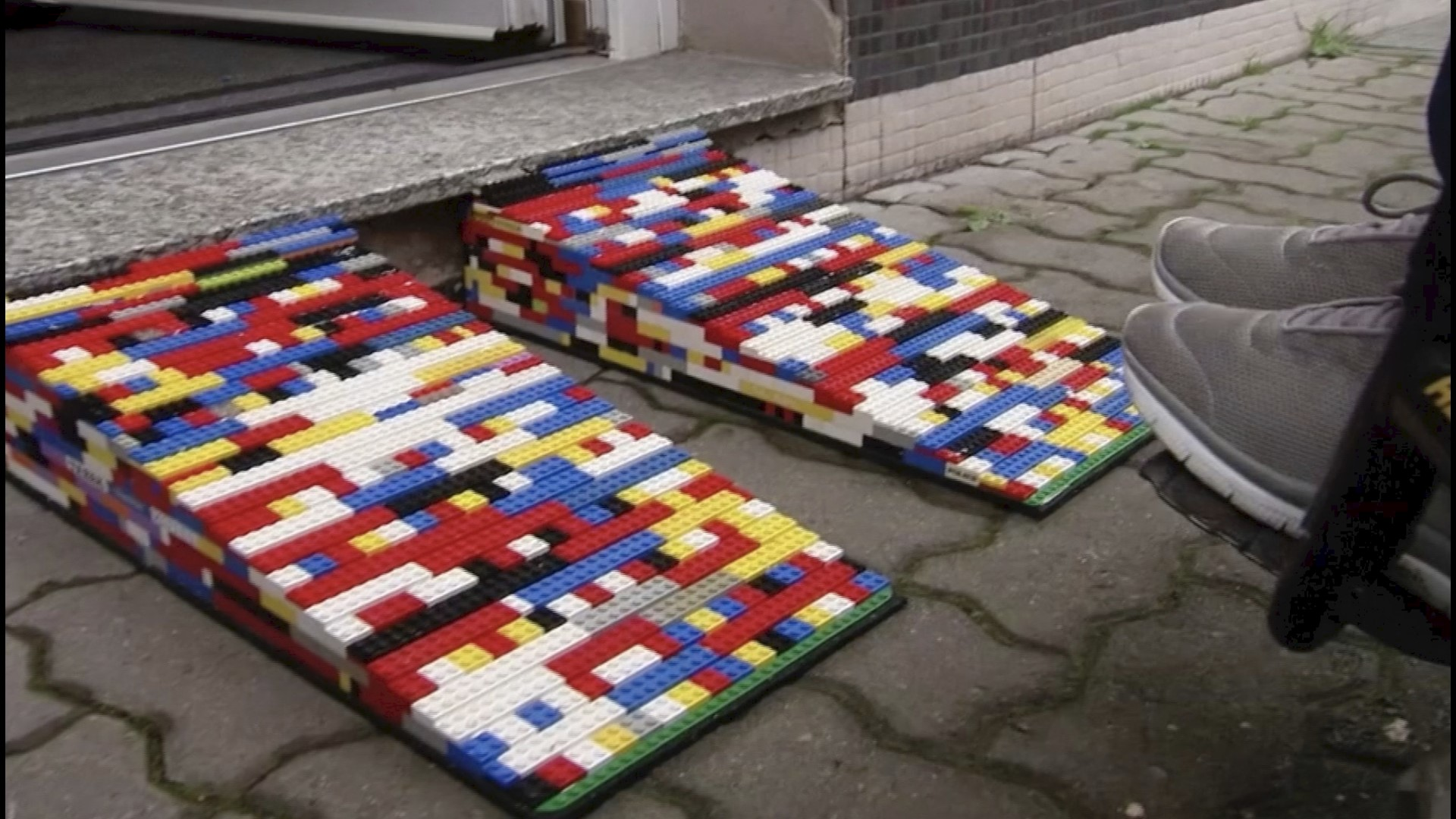 Photo of wheelchair ramp made of recycled Legos.