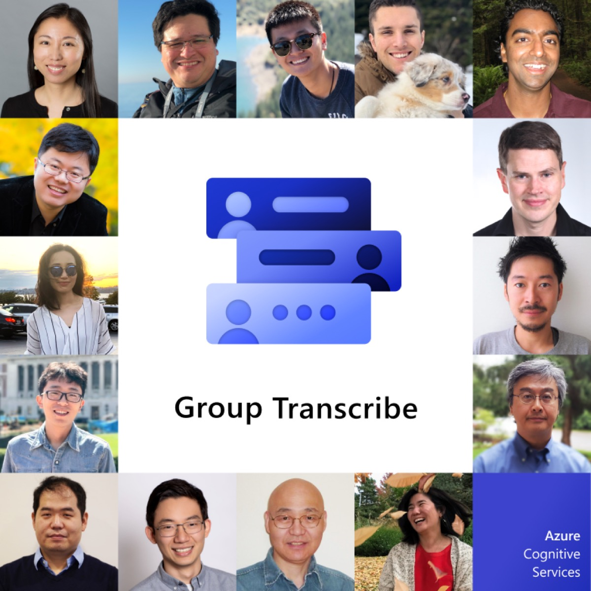 Photo of Microsoft Group Transcribe surrounded by photos of people ready to use the app.
