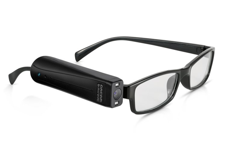 Photo of OrCam MyEye Pro, an assistive technology device that attaches to glasses for people who are blind or low vision.