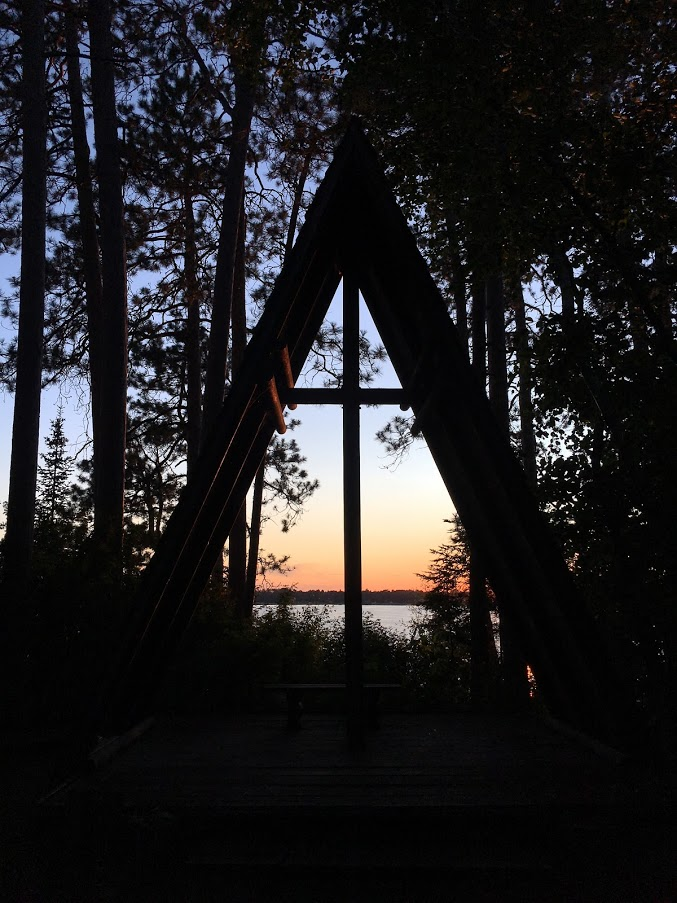 photo of chapel at Camp Courage North with sunset in the background