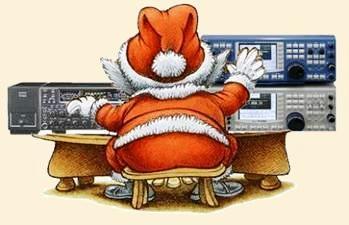 photo of Santa at his ham radio station.