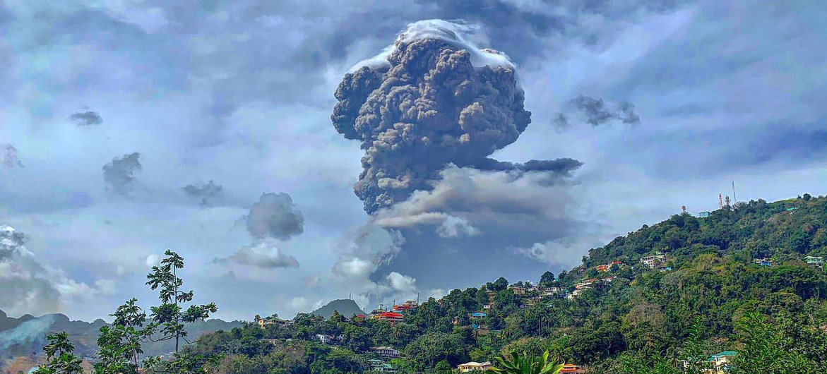 Photo of volcano erupting on the island of St. Vincent.