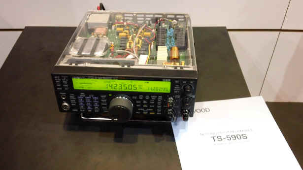 Kenwood TS-590S transceiver with transparent plastic top panel at Kenwood booth in Dayton.