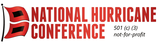 """Logo for the National Hurricane Conference with a red hurricane signal flag"""" width="""