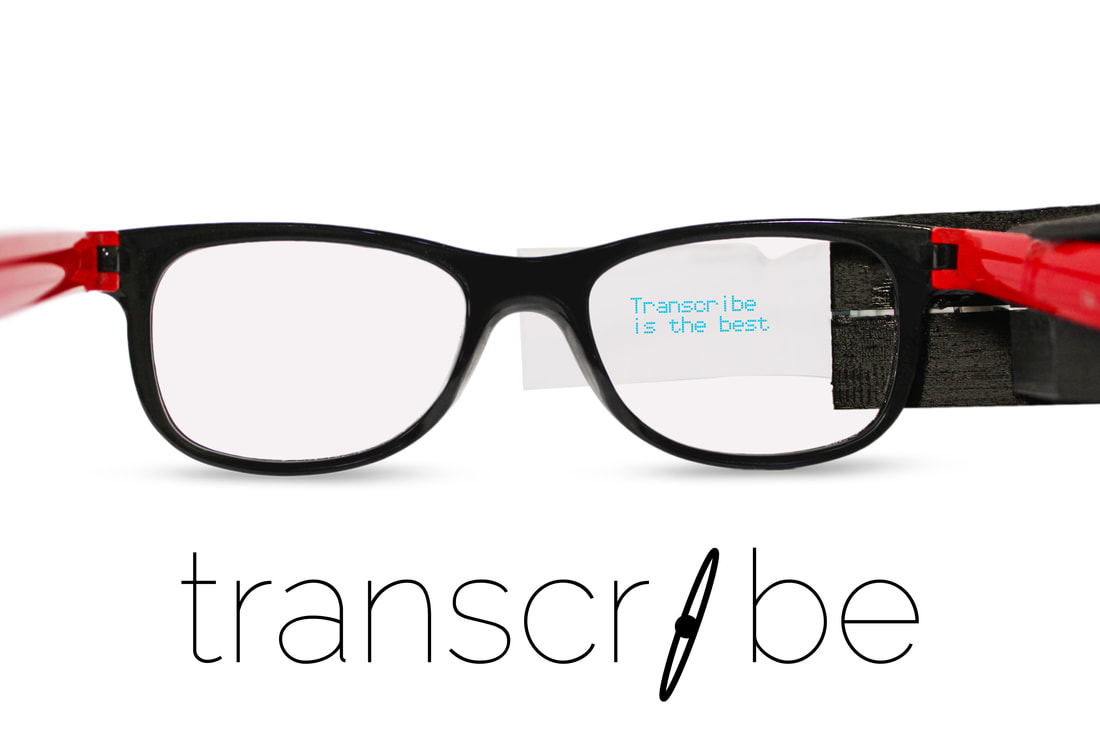 Photo of glasses with TranscribeGlass attached and closed captions showing.