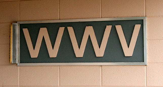 Photo of sign with WWV in large letters.