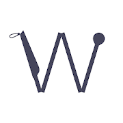 Photo of WeWalk App logo, a smart cane folded in the shape of the letter W.