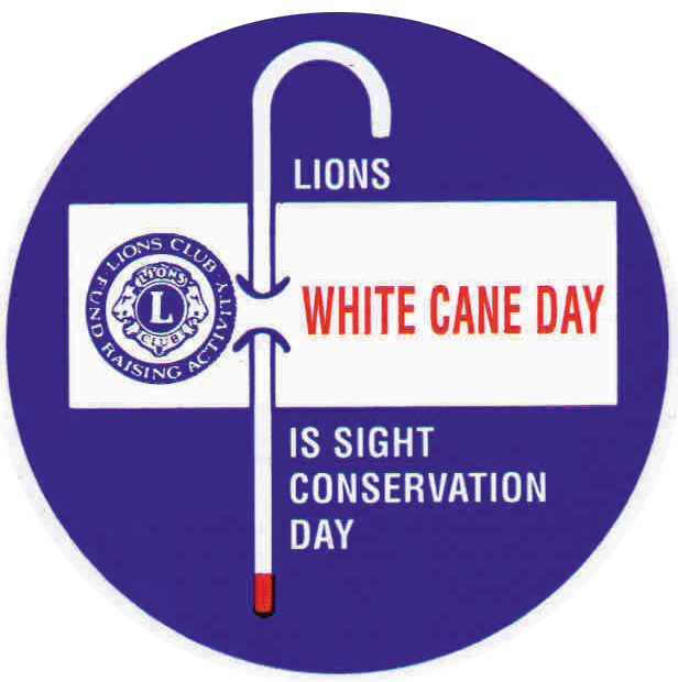 Photo of White Cane Day poster with Lions Club logo and white cane
