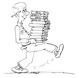 Cartoon guy carring stack of ham radio books = all about ham radio.