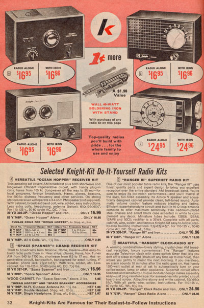 Page from 1968 summer Allied catalog showing beginner Knight Kit radios.