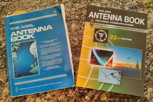 Two ARRL Antenna Books side by side: 1982 version and 2014 version.