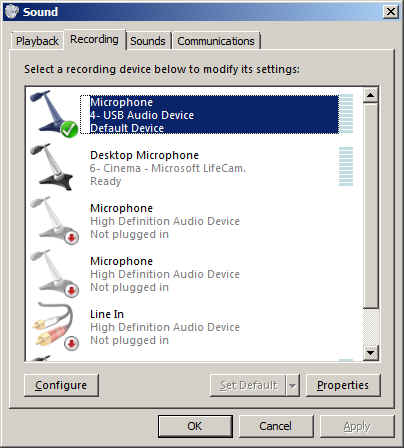 Recording device list in Windows 7 with default device selected.