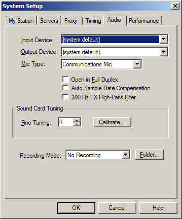Echolink audio tab in System Setup  Reach system setup with keyboard command ALT-E.