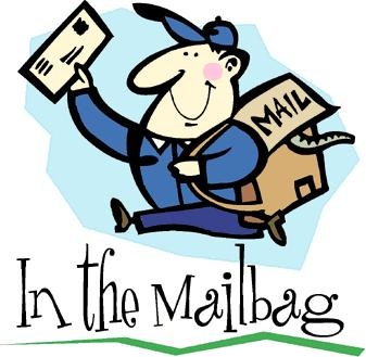 Photo of mail carrier with mail bag and letter.