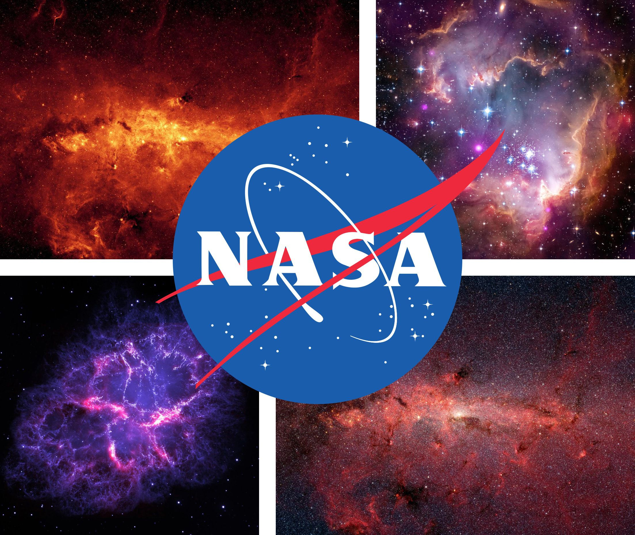 Photo of NASA logo superimposed on photos of space.