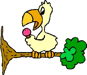 Cartoon parrot on tree branch, holding microphone.