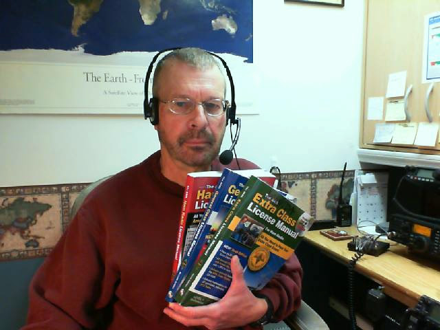 Pat with recording headset and ARRL License Manuals