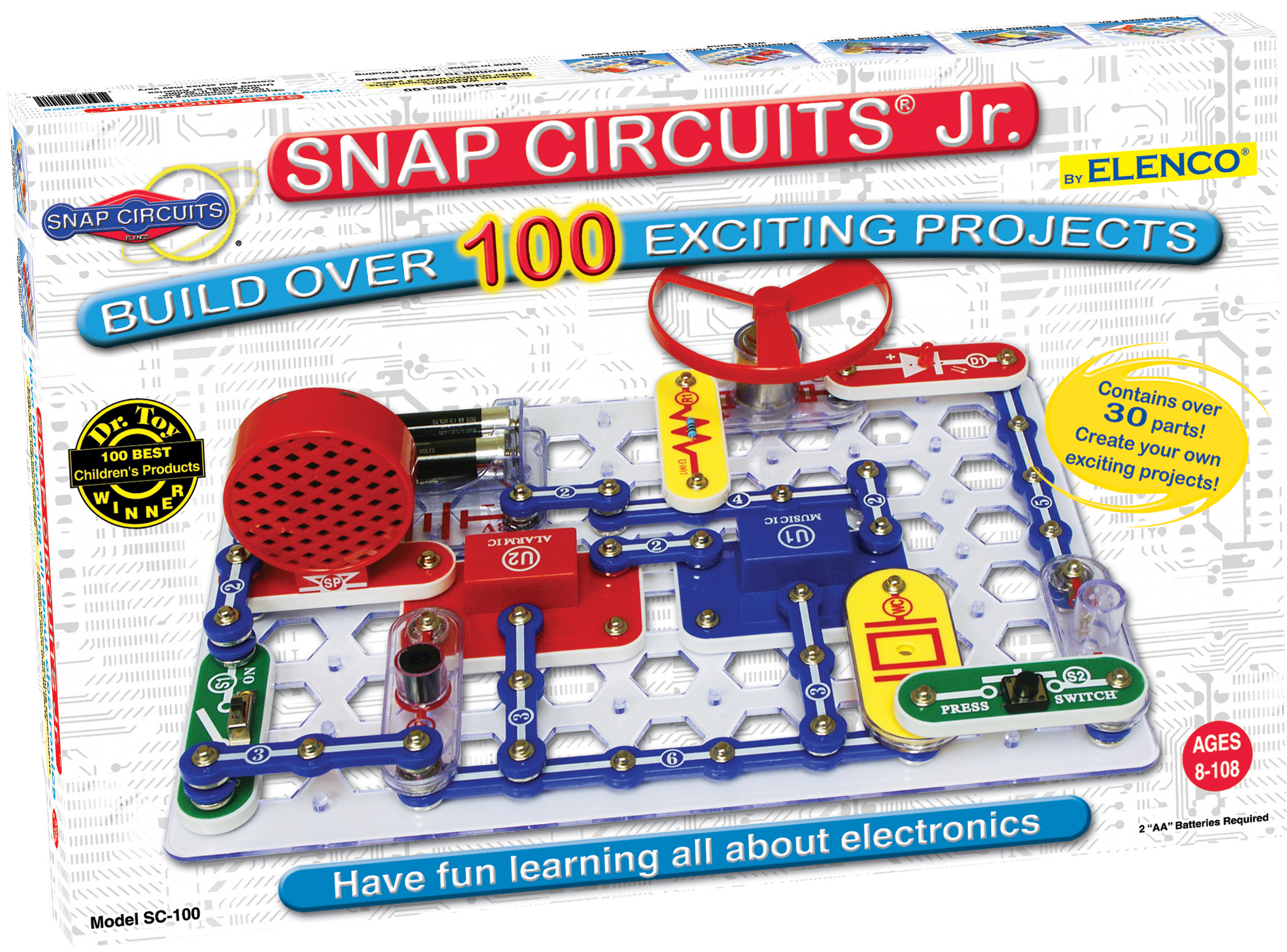 accessible snap circuit kit with all parts labeled