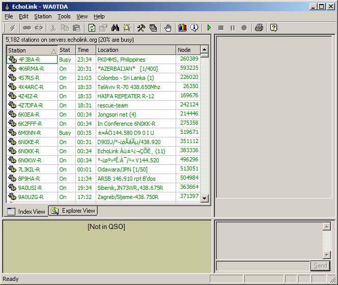 Echolink screenshot showing station list in index view.