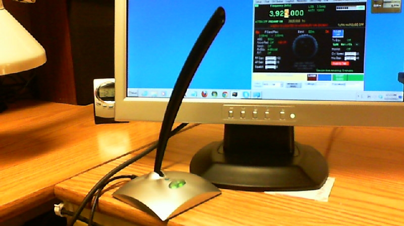 USB desk microphone & LCD screen showing w4mq client.